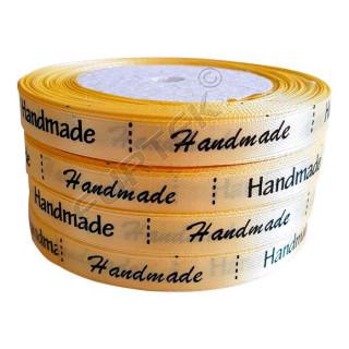 Сатиновый ярлык желтый для маркировки изделий hand-made
