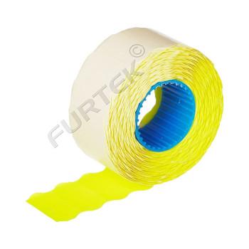 Этикет лента для этикет пистолета «Эконом» желтая, волна, 22х12 мм