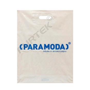 Белый ПВД пакет с вырубной укрепленной ручкой, донной складкой и логотипом для обуви и аксессуаров