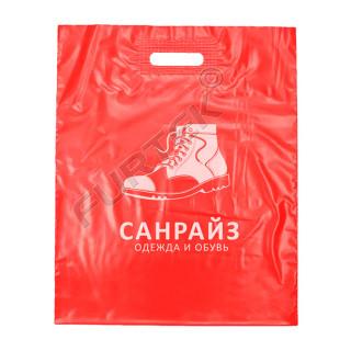 Пакет ПВД красный с вырубной укрепленной ручкой, донной складкой и логотипом