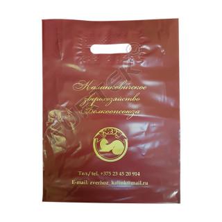 Пакет ПВД коричневый с вырубной укрепленной ручкой, донной складкой и логотипом цвета золото