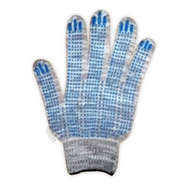 Перчатки ХБ 5-ти нитка с ПВХ (точка) 10 класс, графит
