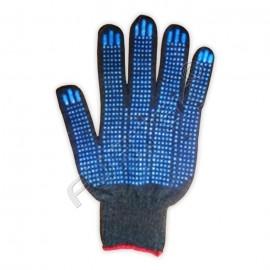 Перчатки ХБ 5-ти нитка с ПВХ (точка) 10 класс черного цвета