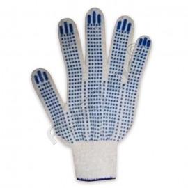 Перчатки ХБ 4-х нитка с ПВХ (точка) 10 класс белые