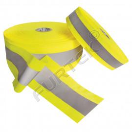Желтая ременная светоотражающая лента с серой полосой, 50 м