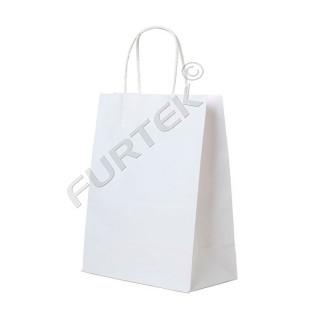 Белый крафт-пакет с кручеными ручками