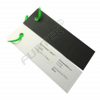 Картонные бирки с люверсом и веревочкой двойные 105х35 мм