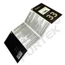 Картонные бирки 120х95 мм в виде буклета «гармошка» со сверлением 4-х отверстий