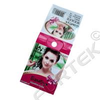 Картонная бирка для маркировки носков ламинированная со сгибом и отверстием для подвешивания