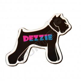 Фигурная навесная бирка в форме силуэта собаки с логотипом 60х70 мм