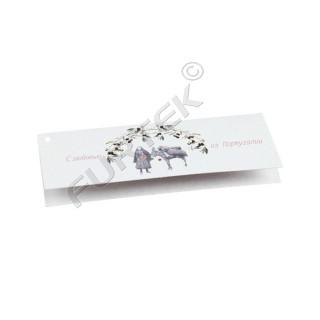 Картонная навесная бирка-книжка с отверстием для крепления