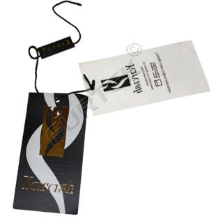 Комбинированная навесная пластиковая бирка для женской одежды 95х45 мм