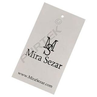 Прямоугольная бирка белого цвета из дизайнерского картона с фактурной поверхностью отверстием