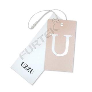Прямоугольная подвесная бирка двойная из мелованного картона с вырубкой и вощеным шнуром с застежкой