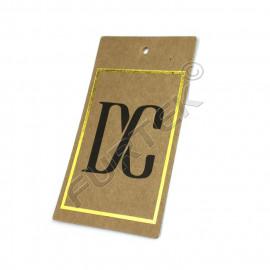 Прямоугольная двойная бирка из крафт-картона с отверстием для крепления