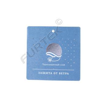 Квадратная бирка из мелованного картона для маркировки детской одежды