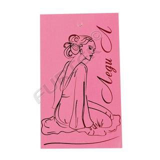 Картонная прямоугольная бирка с тиснением фольгой розового цвета