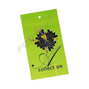 Прямоугольная бирка из мелованного картона с отверстием и полноцветной печатью
