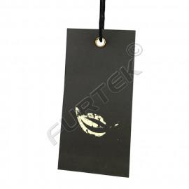 Прямоугольная картонная бирка с тиснением фольгой и люверсом