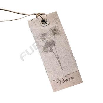 Подвесная прямоугольная бирка из картона и льняной ткани с люверсом