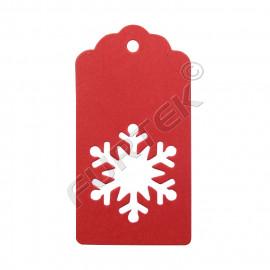 Новогодняя бирка-снежинка красная из крафт-картона