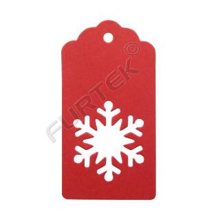 Новогодняя бирка-снежинка красная из дизайнерского картона
