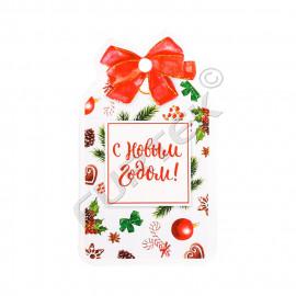 Новогодняя бирка вырубная для подарков с отверстием, оформленным бантом