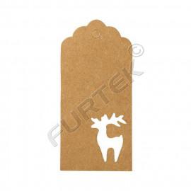 Вырубные бирки из крафт-картона с фигурой оленя без печати