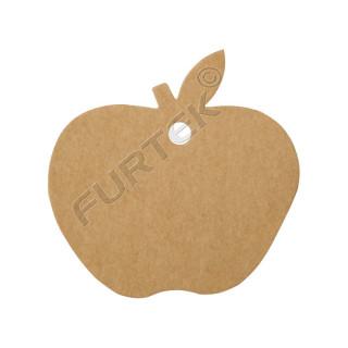 Вырубная бирка-яблоко из крафт-картона для изделий hand-made