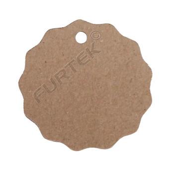 Круглая вырубная бирка из крафт-картона с волнистыми краями