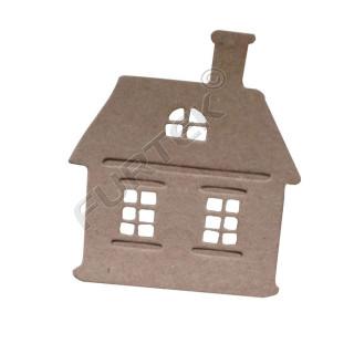 Фигурная бирка-домик из крафт-картона для изделий ручной работы