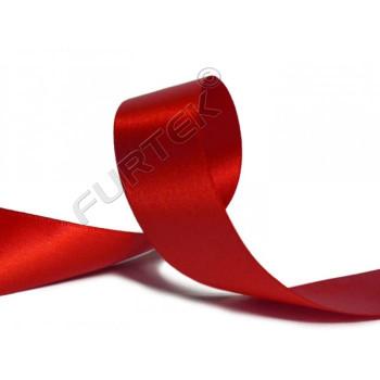 Лента сатиновая 12 мм с тканым краем ярко-красная 100 м, 200 м