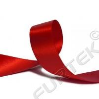 Лента сатиновая 20 мм двухсторонняя с тканым краем красная 100 м, 200 м