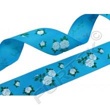 """Репсовая лента с принтом """"Белые розы"""" 30 м,100 м голубая"""