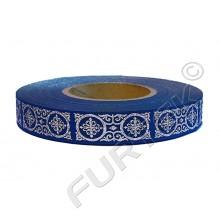 Декоративная тесьма синяя, тисненная серебром 50 м, 100 м