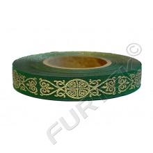 Декоративная зеленая тесьма с золотым тиснением 50 м, 100 м