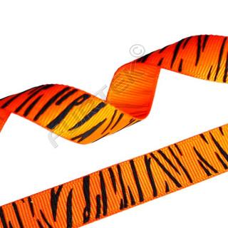 Оранжевая репсовая лента с тигровым принтом 30 м, 100 м