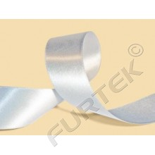 Лента сатиновая двухсторонняя белая 35 мм с тканым краем 100 м, 200 м