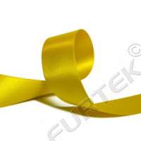 Сатиновая лента 25 мм  двухсторонняя желтая 100 м, 200 м