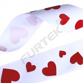 Лента белая из сатина с принтом в виде больших сердечек 50 м, 100 м