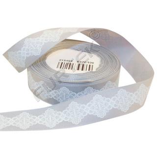Репсовая лента с белым принтом в виде узора