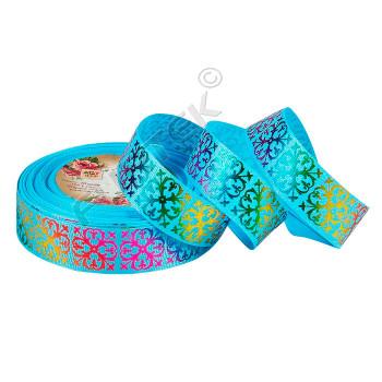 Репсовая лента с принтом в виде узора и многоцветной печатью