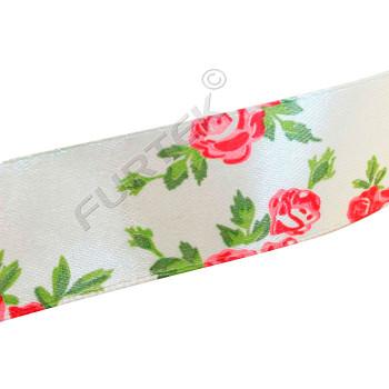 """Кремовая сатиновая лента с принтом """"Красные розы"""" 50 м, 100 м"""