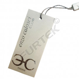 Шнурок с пластиковой пломбой-замочком с логотипом 30х10 мм серый