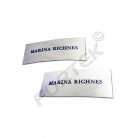 Вшивной ярлык на основе сатиновой ленты 30х80 мм для конвертов на выписку