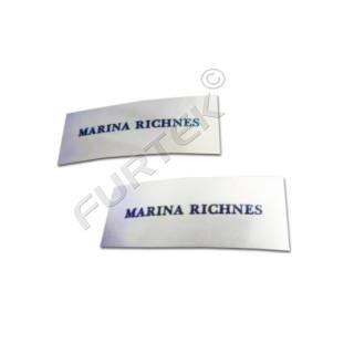 Вшивной ярлык на основе сатиновой ленты 30х80 для конвертов на выписку