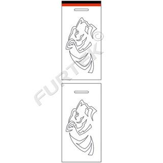 Навесной ярлык с высечным логотипом для спортивной одежды 45х90 мм