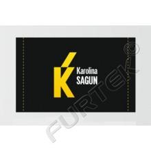 Жаккардовый ярлык 6х4 см черный с желтым логотипом