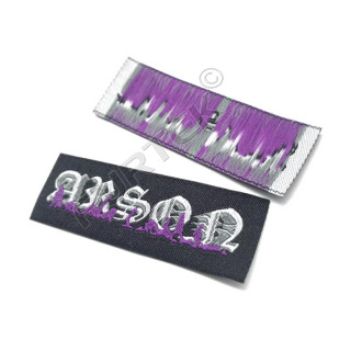 Жаккардовая пришивная бирка с краем на пришив, плетение Тафта