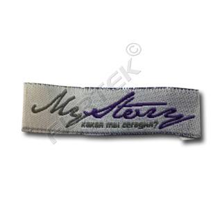 Жаккардовая этикетка вышитая 10 мм с подгибом серая